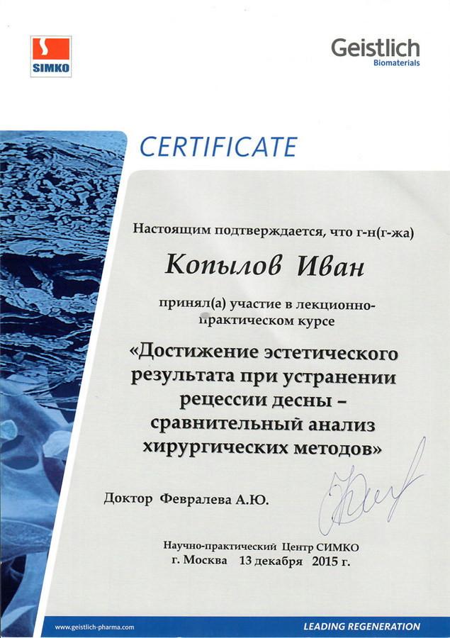 Копылов Иван Павлович - Сертификат Копылова Ивана Павловича