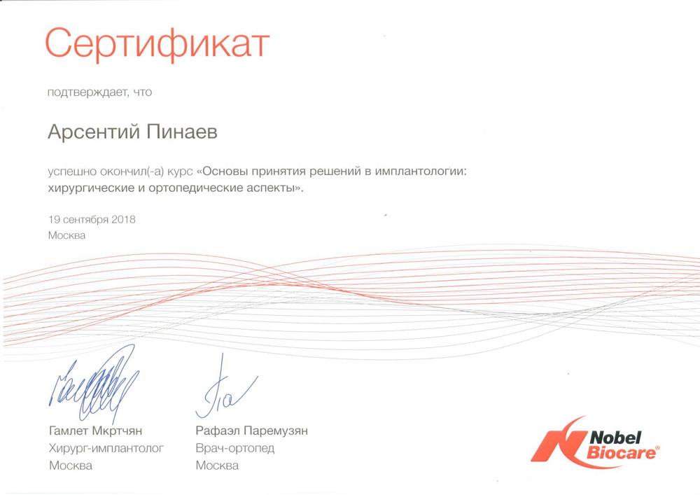 Пинаев Арсентий Михайлович - Сертификат Пинаева Арсентия Михайловича