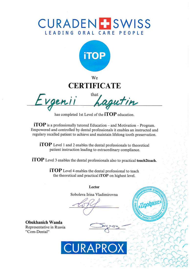Лагутин Евгений Александрович - Сертификат Лагутина Евгения Александровича