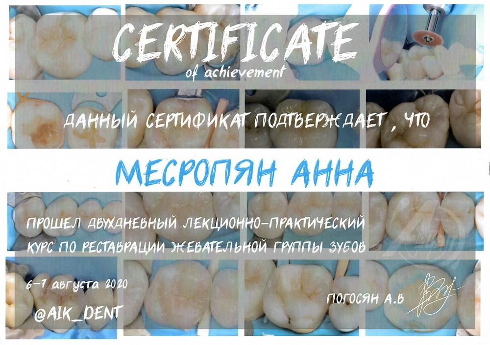 Месропян Анна Арменовна - Сертификат Месропян Анны Арменовны