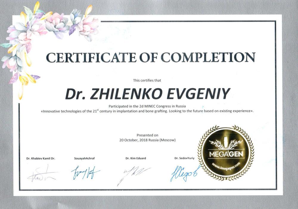 Жиленко Евгений Александрович - Сертификат Жиленко Евгения Александровича